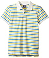 Toobydoo - Blue & Yellow Stripe Short Sleeve Polo (Infant/Toddler/Little Kids/Big Kids)