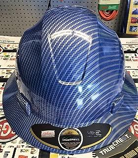 HNTE-Blue/Black Fiberglass Hard Hat Safety Full Brim Helmet, Nylon Ratchet Suspension, 4-Point, {Top Impact} Safety Hard Hat Cool Air Flow Vent System