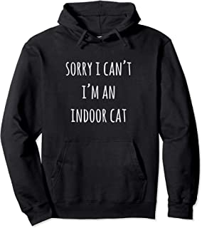 Shy Gray Kitty Sorry I Can`t I`m An Indoor Cat Pullover Hoodie