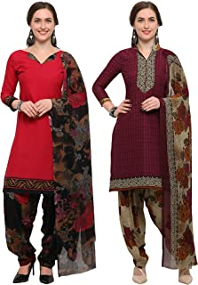 Rajnandini Women's Pink And Wine Crepe Printed Unstitched Salwar Suit Material (Combo Of 2) (Free Size)