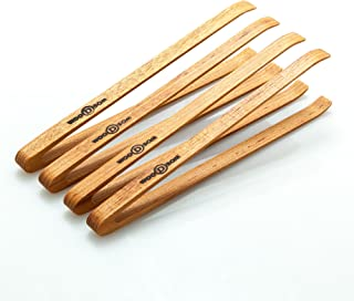 Wooden Mini Appetizer Tongs, Set of 4, 6 inches long