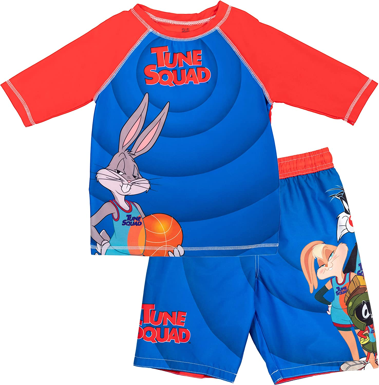 SPACE JAM Looney Tunes Raglan 2 Piece Rash Guard & Swim Trunks Set