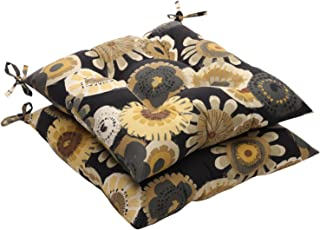 Pillow Perfect Indoor/Outdoor Black/Yellow Floral Tufted Seat Cushion, 2-Pack