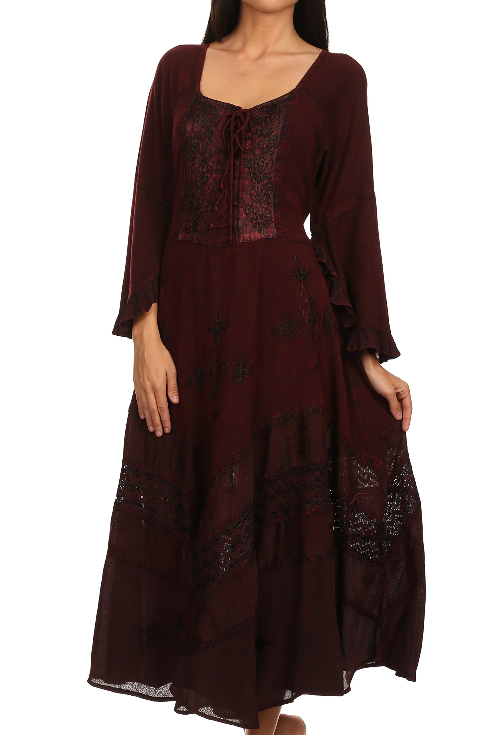 Mirabel Stonewashed Corset Style Floral Emboridery Kimono Sleeve Dress