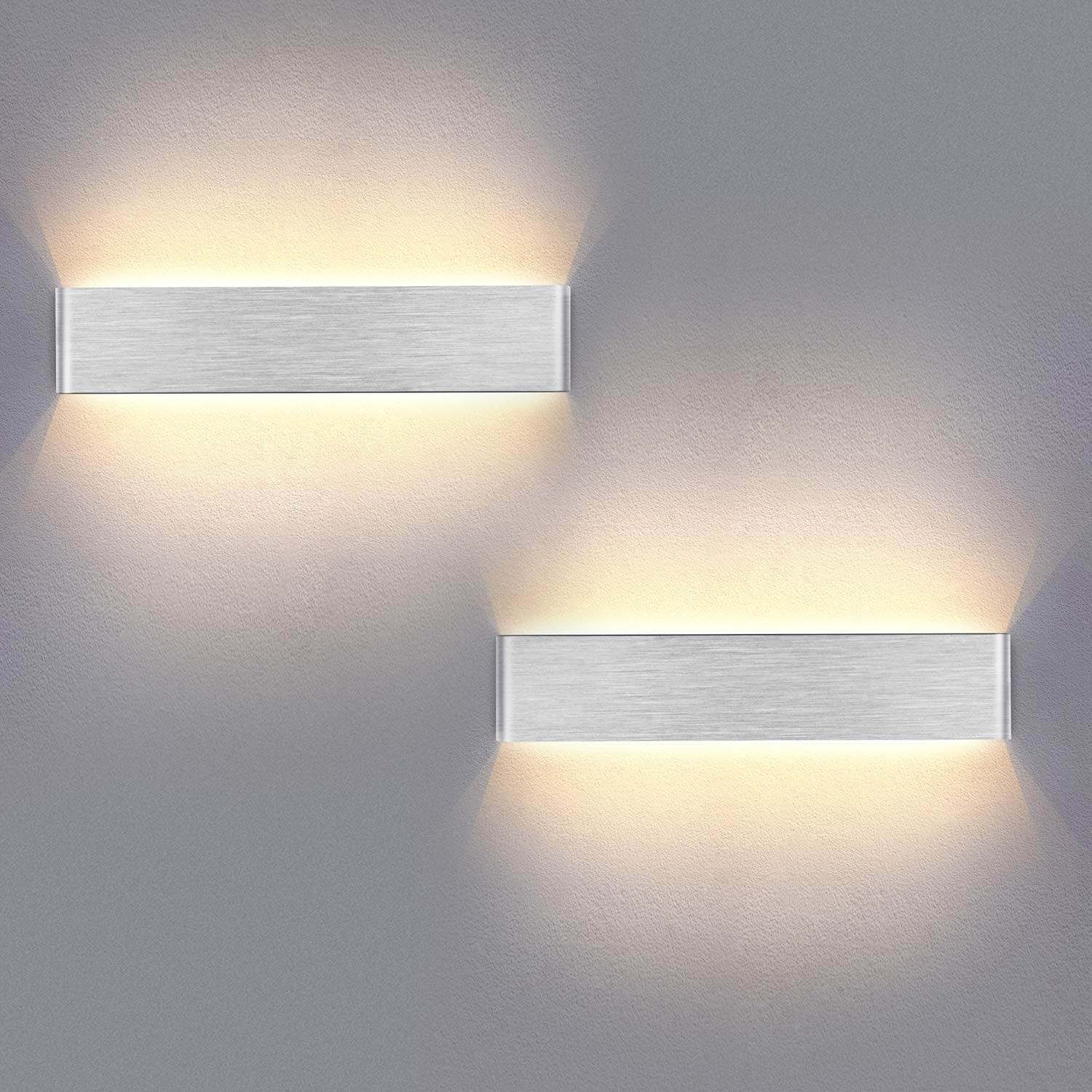 Yafido 2x Aplique Pared Interior LED 40CM Lámpara de pared Moderna 14W Blanco Cálido 3000K plata cepillado para Salon Dormitorio Sala Pasillo Escalera 220V: Amazon.es: Iluminación