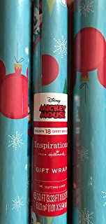 Inspirations from Hallmark Mickey Mouse Holiday Wrapping Paper Featuring Mickey Mouse and The Mouse Logo - 65 sq ft w/Cutting Lines - Great Way to Commemorate The 90th Birthday!