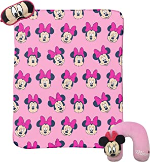 Jay Franco Disney Minnie Mouse 3 Piece Plush Kids Travel Set with Neck Pillow, Blanket & Eye Mask (Official Disney Prodcut)
