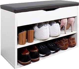 RICOO WM032-WM-A Meuble à Chaussures 60x42x30cm Bois Blanc Banc Coffre Rangement Commode Banquette Meuble de Rangement Cha...