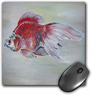 3dRose Mouse Pad Ryukin Goldfish - Goldfish, ryukin, fantail, Fish, Aquarium Fish, Fresh Water Fish, Red and White Fish - 8 by 8-Inches (mp_46749_1)