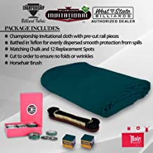 Championship Invitational Pool Table Cloth Replacement Set for 7 FT Pool Tables Billiard Table Felt Bathed in Teflon with Horsehair Brush -Spots - Chalk - 6 pre-Cut Rail Pieces