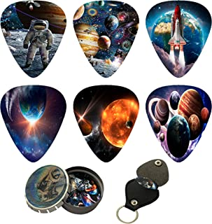Space Guitar Picks 12 Pack W/Tin Box & Picks Holder. Celluloid Medium Cool Picks Perfect Gift For Guitar & Lover. For Acoustic Electric and Bass Guitars feels like float in zero gravity while playing