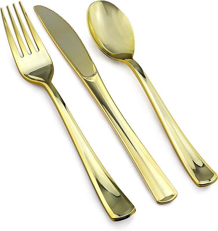 Stately Elegance Designs 800 Piece Gold Plastic Silverware Set Includes 400 Forks 200 Knives And 200 Spoons Gold Cutlery Heavy Duty Durable Disposable Flatware Set