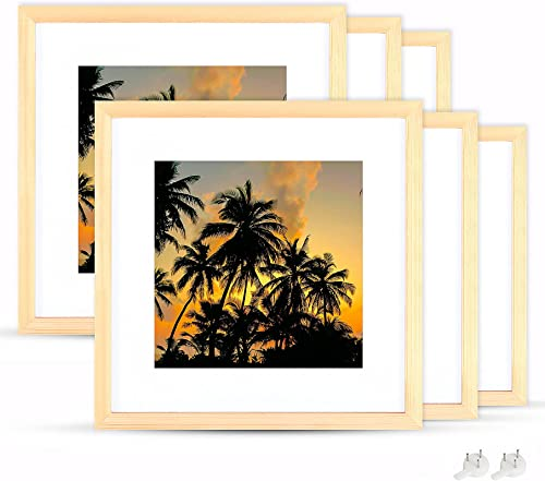2021 netuera 11x11 online sale Picture Frames 7x7 8x8 with Mat and 11x11 without Mat for Wall Mounting and Table Top Set online of 6 online