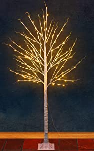 7 FT Lighted Birch Tree Fall Decor, 150 LED Outdoor Light up Artificial Tree Warm White ,Prelit with Fairy Lights for Thanksgiving Fall Decoration, Indoor Living Room,Christmas Patio Yard Decor