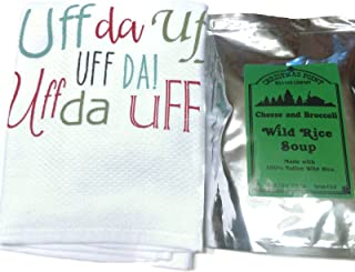 Minnesota Wild Rice Soup Mix - Cheddar & Broccoli with a Minnesota Uffda White Kitchen Towel Gift Set