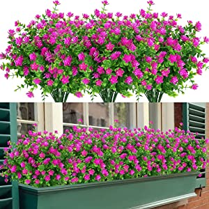 GETYARD 8 Bundles Outdoor Artificial Flowers for Decorations, No Fade Fake UV Resistant Plastic Greenery Plants for Garden Patio Porch Window Box Home Wedding Décor (Magenta)