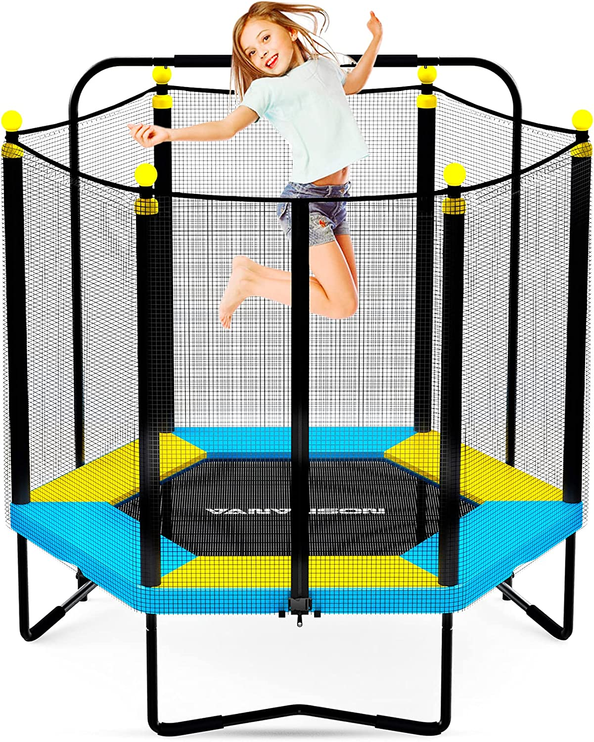 VANVUSON All items free shipping 4.5FT Kids Trampoline for Indoor Mini Toddler Outdoor Sales results No. 1