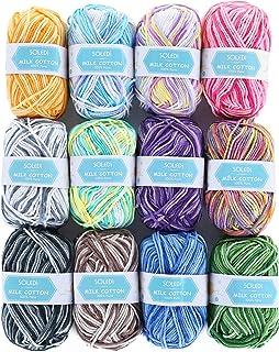 SOLEDI Pelotes de Laine en Acrylique, Kit de Fil Acrylique Hyper Doux pour Tissage à La Main Avec 2 Crochets et Sac de Ran...