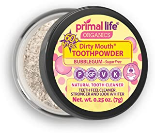 Natural Tooth Powder Dirty Mouth Organic Toothpowder (1month) -#1 BEST All Natural Dental Cleanser -Gently Polishes, Whitens, Re-Mineralizes, Strengthens Teeth -Better Than toothpaste(Sweet Bubblegum)