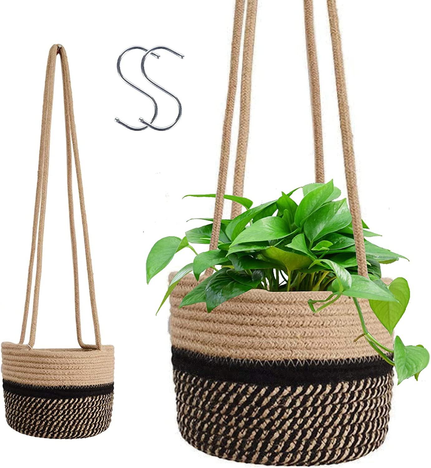 2021 autumn and winter new WHATWEARS Hanging Rope Planter Basket Cotton Bombing new work Pack Woven 2