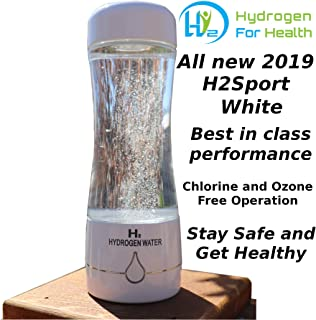 H2 Sport White Hydrogen Generator Water Bottle with PEM Dual Chamber Technology. New for 2019