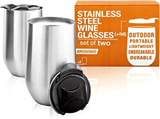 Stainless Steel Wine Glasses with Lid - Set of 2-16 oz Double Wall Insulated Wine Tumblers - 100% Unbreakable & Stemless Glass - Wine Tumbler Set for Outdoor : Wine, Coffee & Camping