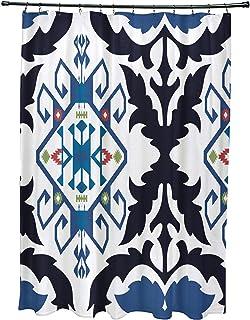 E by design SCGN539BL14BL40 Bombay Medallion, Geometric Print Shower Curtain, Navy Blue