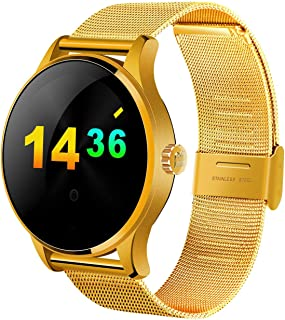 STEPFLY K88H Smart Watch for Men Women with Stainless Steel Strap Smart Wrist Watch Heart Rate Blood Pressure Pedometer Fiteness Tracker for Android iOS Phone (Gold)