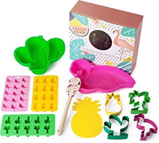 Fun baking kit gift 11pcs with tropical cookie cutters flamingo cake pan cake mold chocolate mold
