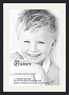 ArtToFrames 20 x 30 Inch Opening Single Mat with a Satin Black 1.25'' Wide Picture Frame, 2'' Super White Mat