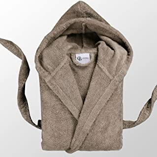 Casabella Uni Sex Bathrobe 100% Cotton Terry Towelling Hooded Bath Robe Dressing Gown_Taupe_Large