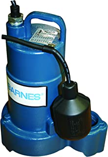 Barnes 115369 Model SP75AX Submersible Cast Iron Sump Pump – 3/4 HP, 4,800 GPH, 20' Cord, Piggy Back Mechanical Float Switch, For Residential Use