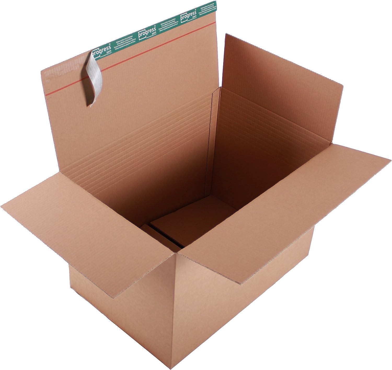 ProgressBOX K20.11-4 Transportkarton Premium 2-wellig mit SK-Verschluss und Aufreißfaden 590 x 390 x 400-265 mm, 10er Pack, braun B00LQKNWL2      Tadellos
