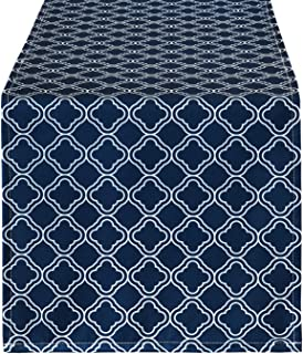 Smurfs Yingda Geometric Lattice Table Runner, Navy Blue Grid Stitching Table Runner, Waterproof Table Runner for Summer Parties, Catering Events and Daily Use, 12 × 70 inches