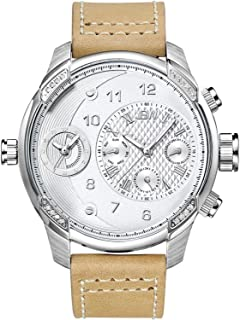 JBW Luxury Men's G3 16 Diamonds Two Time Zone Leather Watch - J6325D