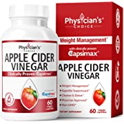 Apple Cider Vinegar Capsules for Weight Loss (Award Winning Capsimax Formula), Fat Burners for Women & Men, Appetite Suppressant, Metabolism Booster, Organic, Non-GMO, 60 Pills