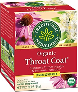 Traditional Medicinals Organic Throat Coat Lemon Echinacea Seasonal Tea 32 ct (Pack of 3), Supports Throat Health & Immune...