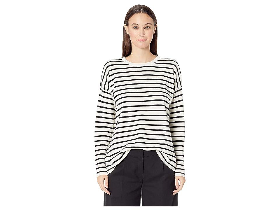 Eileen Fisher Fine Merino Round Neck Top (Soft White/Black) Women