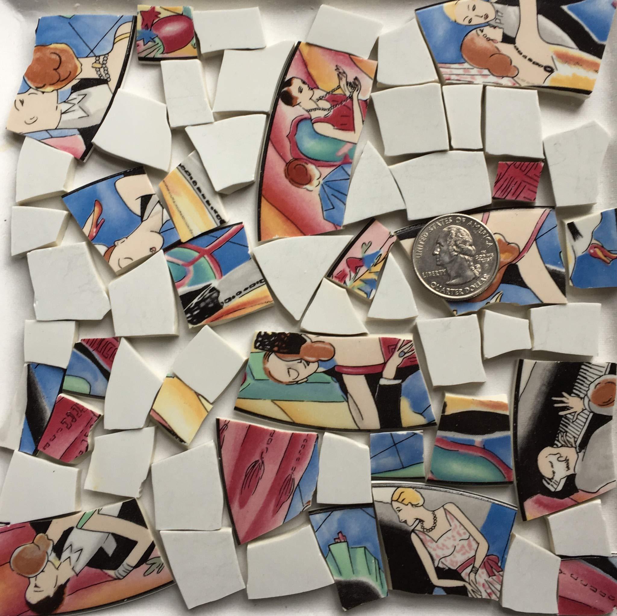 モザイクアート&クラフト供給〜女性と男性のダンスブラックとブルーのタイル( B054)