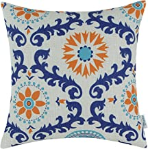 CaliTime Canvas Throw Pillow Cover Case for Couch Sofa Home Decoration Three-Tone Dahlia Floral Compass Geometric 18 X 18 Inches Turquoise Blue/Orange/Blue
