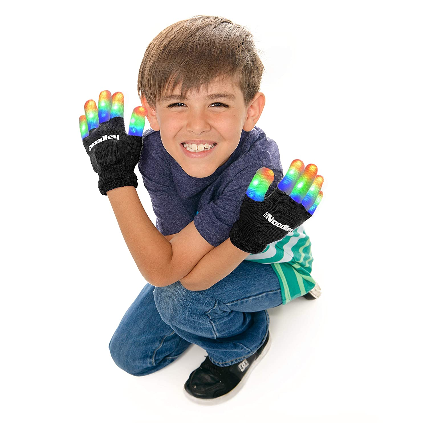 The Noodley Children LED Finger Light Gloves - Boys Toys & Kids Gifts Games (Small, Black) xhcbqzmcvhs82