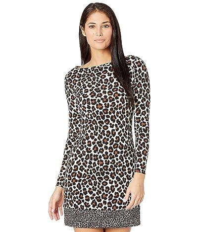 MICHAEL Michael Kors Petite Seventies Cat Long Sleeve Border Dress (Caramel) Women