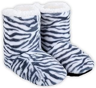 Women's Zebra Print Bootie Slipper with Faux Shearling Lining