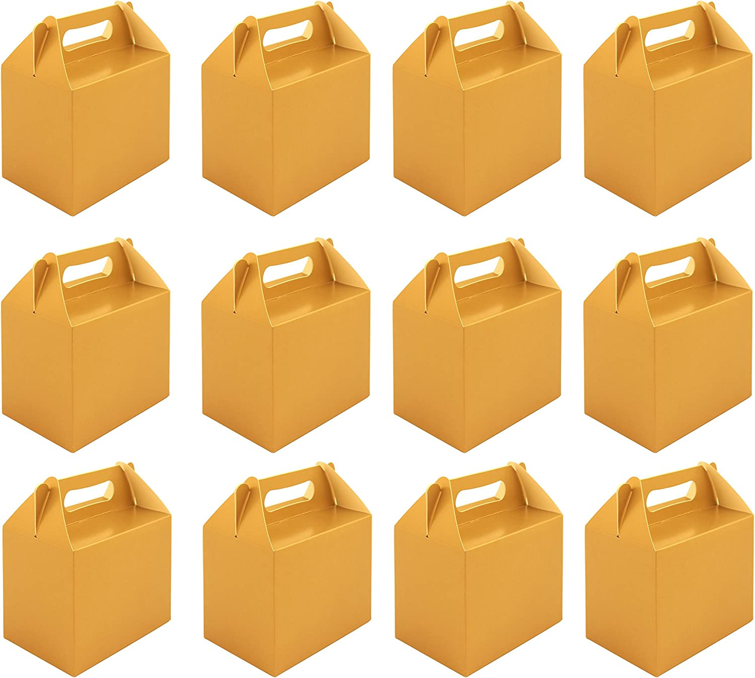 VALUE PACK 12 x gold Paper Lunch Box Going Home Present Picnic Boxes by My Planet