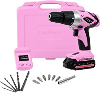 Pink Power PP181LI 18 Volt Lithium-Ion Cordless Electric Drill Driver Kit for Women- Tool Case, Drill Set, Battery & Charger