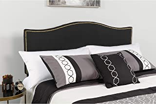 Flash Furniture Lexington Upholstered King Size Headboard with Accent Nail Trim in Black Fabric