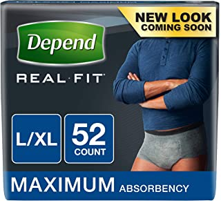 Depend Real Fit Incontinence Disposable Underwear for Men, Large/ X-Large, 52 Count