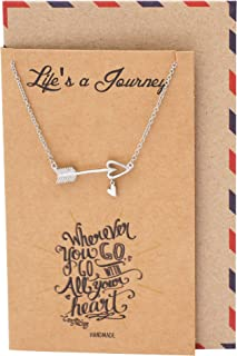 Arrow Necklace with Heart Charm, Positive Reminder Sideways Arrow Pendant, Graduation Gifts, Dream Necklace with Inspirational Quote
