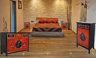 Combinación de Muebles asiáticos con aparador Chino cómoda Vintage y 2 mesitas de Noche de Estilo Antiguo