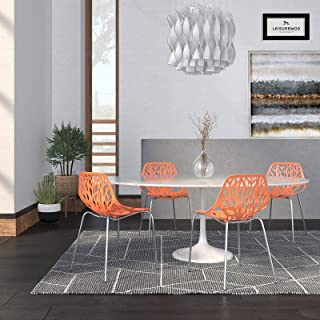 LeisureMod Forest Modern Side Dining Chair with Chromed Legs, Set of 4 (Orange)